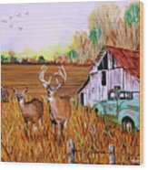 Whitetail Deer With Truck And Barn Wood Print