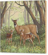 Whitetail Doe And Fawns - Mom's Little Spring Blossoms Wood Print
