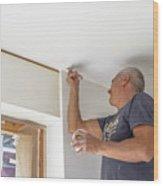 Whitewasher Plastering Wall Wood Print