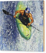 Whitewater Kayaker Wood Print