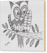 Who Says The Owl Wood Print by Paula Dickerhoff