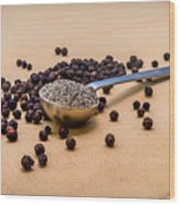 Whole Black Peppercorns With A Heaping Teaspoon Of Ground Pepper Wood Print