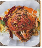 Whole Cooked Dungeness Crab With Peanut Sauce And Spices On Whit Wood Print