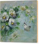 Whte Butterfly And Blossoms Wood Print