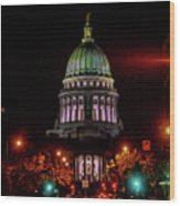 Wi State Capitol From West Washington Ave Wood Print