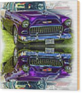Wicked 1955 Chevy - Reflection Wood Print