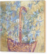 Wicker Basket Of Garden Flowers Wood Print
