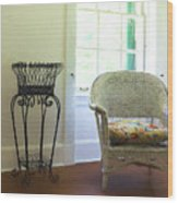 Wicker Chair And Planter Wood Print