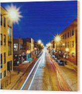 Wicker Park Light Trails Wood Print