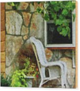 Wicker Rocking Chair On Porch Wood Print