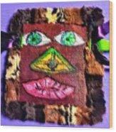Wide Eyed Loup Garou Mardi Gras Screen Mask Wood Print
