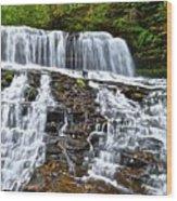 Wide Flowing Falls Wood Print