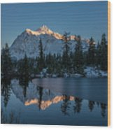 Wide Shuksans Last Light Reflected Wood Print