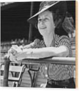 Wife Of The  The Arkansas Hummingbird Lon Warneke, Watches The Game From The Stands. 1939 Wood Print