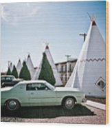 Wigwam Motel Classic Car #3 Wood Print