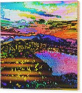 Wild And Crazy Mountainous Sunset Wood Print