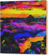 Wild And Crazy Shoreline Dusk Wood Print