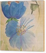 Wild Blue Poppies Wood Print