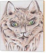 Wild- Brown Hair Cat Wood Print