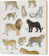Wild Cats Wood Print