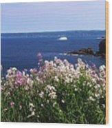 Wild Flowers And Iceberg Wood Print