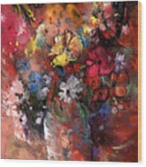 Wild Flowers Bouquet In A Terracota Vase Wood Print