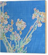 Wild Flowers On Blue Wood Print