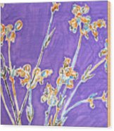 Wild Flowers On Lilac Wood Print