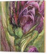Wild Garden Tulips Wood Print