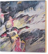 Wild Geese Flying In A Snow Storm Wood Print