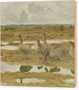 Wild Geese In The Marsh Wood Print