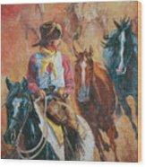 Wild Horse Stampede Wood Print