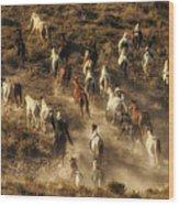Wild Horses Gone Wild Wood Print