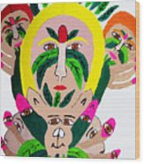 Wild Look Of The Green Plant Lady Wood Print