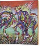 Wild Pastel Ponies Wood Print by Louise Green