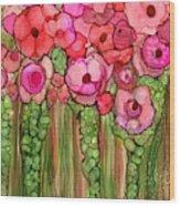 Wild Poppy Garden - Pink Wood Print