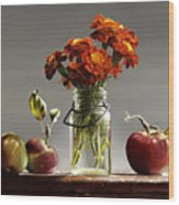 Wild Red Apples With Marigolds Wood Print