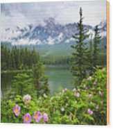 Wild Roses And Mountain Lake In Jasper National Park Wood Print