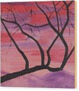 Wild Sky And Tree Wood Print