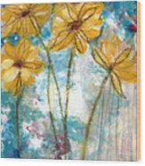 Wild Sunflowers- Art By Linda Woods Wood Print