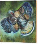 Wild Turkey In Flight Wood Print