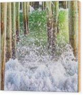 Wild Waves Under The Boardwalk Wood Print
