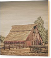 Wild West Barn And Hay Wagon Wood Print
