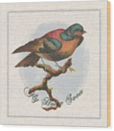 Wildcraft Bird Print On Linen Wood Print