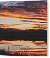 Wildfire Sunset Reflection Image 28 Wood Print