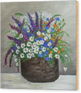 Wildflower Basket Acrylic Painting A61318 Wood Print