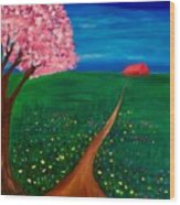 Wildflower Country Road Wood Print