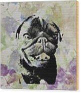 Wildflower Pug Wood Print