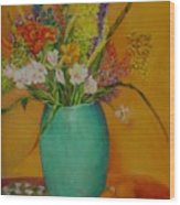 Wildflowers and Blue Vase           copyrighted Wood Print