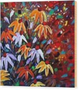 Wildflowers At Sunset Wood Print